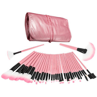 Looks United 32 Premium Cosmetic Makeup Brush Set with Leather Pouch.