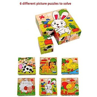 SHRIBOSSJI Colorful Wooden Block Picture Puzzle For Toddlers And Small Children (Farm Theme)  (9 Pieces)