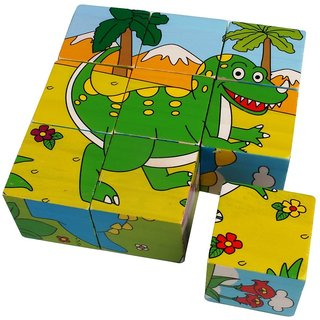 SHRIBOSSJI Colorful Wooden Block Picture Puzzle For Toddlers And Small Children (Dinosaur Theme)  (9 Pieces)