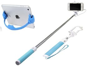 Combo of BW Selfie Stick and Ok Stand for Smartphones (Assorted Colors)