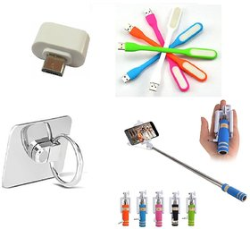 Selfie Stick, Ring, Led and OTG Adopter Combo for Smartphones (Assorted Colors)
