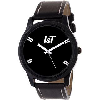 I & T New Trendy Analog Black Leather Wrist watch for Men/ Boys