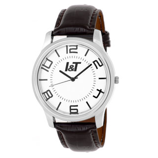 I & T Analog Black Leather Wrist watch for Men/ Boys