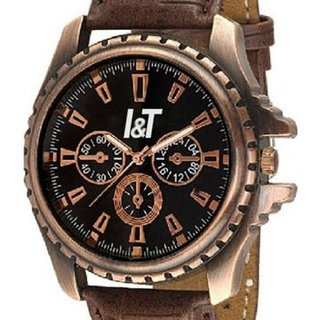 I & T Brown Antique Dummy Chrono Analog Wrist Watch For Men And Boys