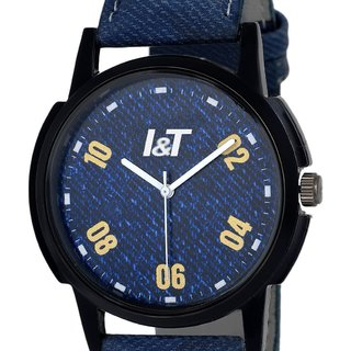 I & T Stylish Analog Denim Wrist watch for Men/ Boys