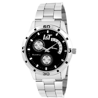 I & T Silver Black Decent Designed Analog Wrist Watch For Men And Boys