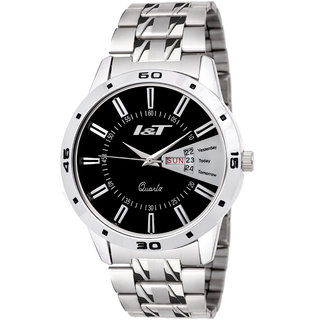 I & T Silver Black Designed Date n Day Multi Marker Analog Wrist Watch For Men And Boys