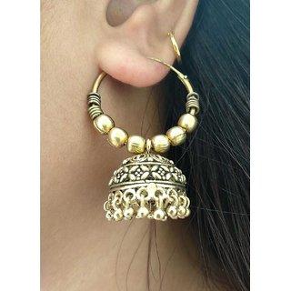 Girlypick.com Golden Oxidized Jhumka Earrings for Girls