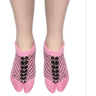 U.K size 6 Handmade Woolen Socks 100 soft KC Women Socks (Pink  Black) peacock design