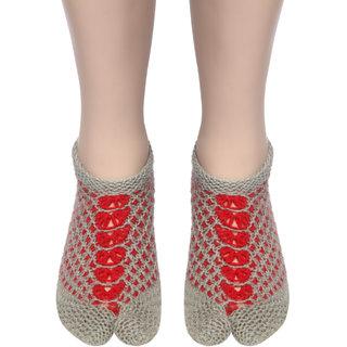 U.K size 6 Handmade Woolen Socks 100 soft KC Women Socks (Grey  Red) peacock design.