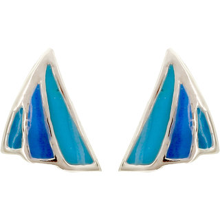 MAGS Silver Self Design Motif Theme Stud Earring for Girls (KEE-164, Blue)