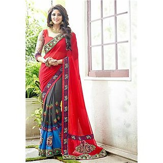 Indian Beauty Red Georgette Self Design Saree With Blouse