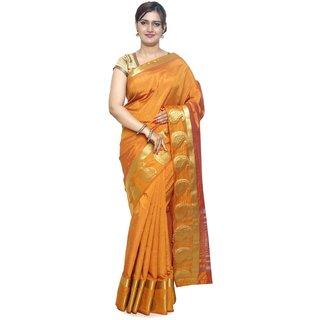 Sudarshan Silks Orange Raw Silk Self Design Saree With Blouse