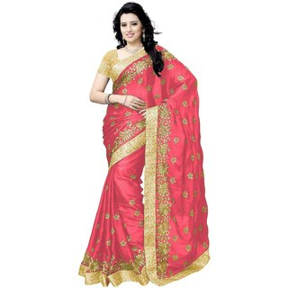 Meia Pink Satin Embroidered Saree With Blouse