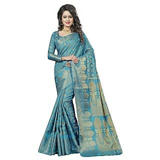 Aagaman Fashion Blue Jacquard Plain Saree With Blouse