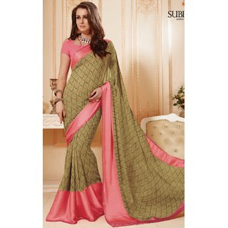 Sudarshan Silks Beige Polyester Self Design Saree With Blouse