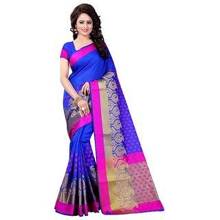Meia Blue Cotton Self Design Saree With Blouse
