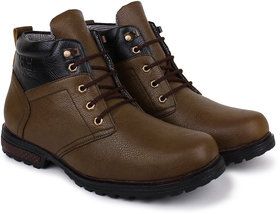 Buwch Men's Dark Brown And Black Ankle Length Boots