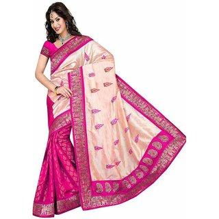 Pari Designerr Pink Silk Printed Saree With Blouse