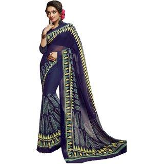 Sudarshan Silks Blue Crepe Self Design Saree With Blouse