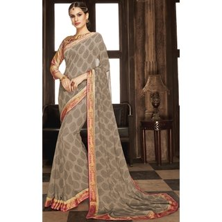 Sudarshan Silks Grey Georgette Embroidered Saree With Blouse
