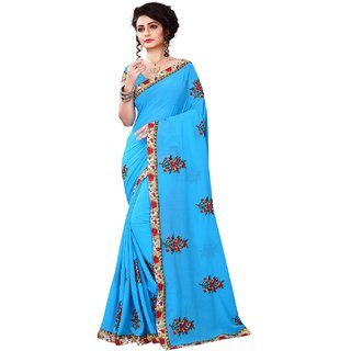 Meia brand new collection skyblue designer sarees with blouse piece