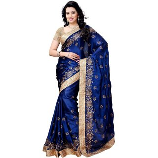 Meia Blue Satin Embroidered Saree With Blouse