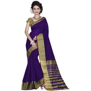 746776f02d Buy Shailaja Sarees Blue & Navy Cotton Plain Saree With Blouse ...