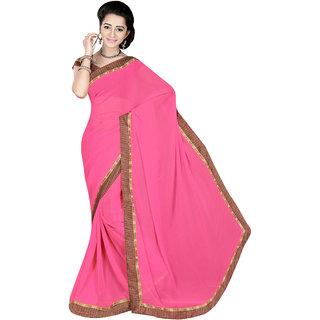Jiya Pink Georgette Printed Saree With Blouse