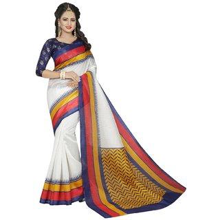 New Maruti Enterprise White Bhagalpuri  Sarees For Womens