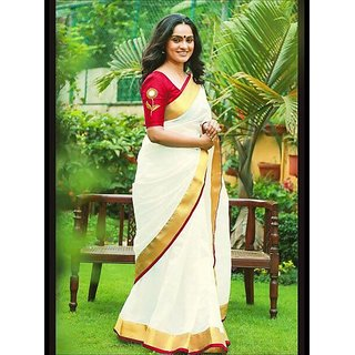 Fascinating  WhiteColored  Chanderi Cotton Designer Saree