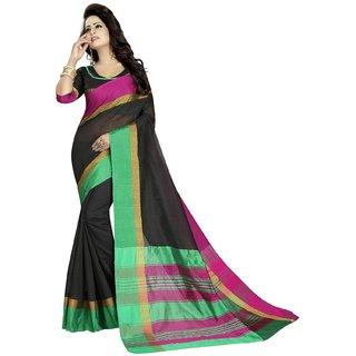 Samarth Fab Black Cotton Woven Design Saree With Blouse