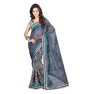 Lookslady Grey Raw Silk Printed Saree With Blouse