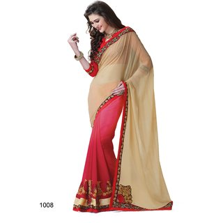Shree Vardhman Red & Cream Georgette Embroidered Saree With Blouse