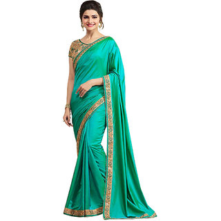 Deep Fashion Green Paper silk EMBROIDERY Saree With Bloues Pic