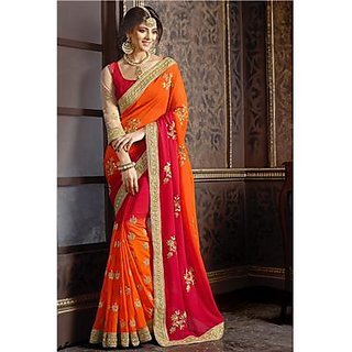 Indian Beauty Orange Georgette Self Design Saree With Blouse