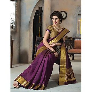 02ef593fe Buy Indian Beauty Purple Georgette Self Design Saree With Blouse Online -  Get 86% Off