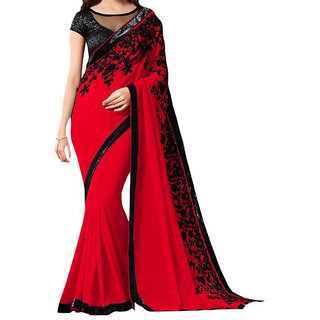 Keshvi Fashions Red Georgette Printed Saree With Blouse