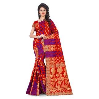 Thankar online trading Multicolor Banarasi Silk Printed Saree With Blouse