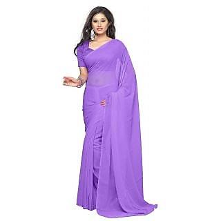 Dream Beauty Fashion Purple Plain Chiffon saree