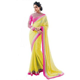 kanak yellow saree with embrodaried blouse pease