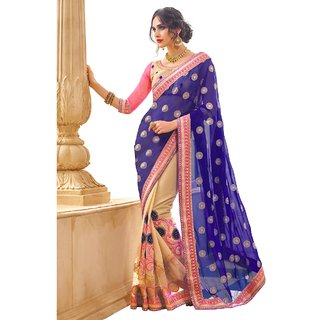 Triveni Beige Georgette Embroidered Saree With Blouse