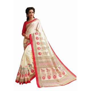 Sudarshan Silks White Cotton Self Design Saree With Blouse
