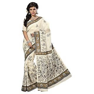 Triveni White Cotton Printed Saree With Blouse