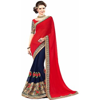 Saree Shop Red Georgette Embroidered Saree With Blouse