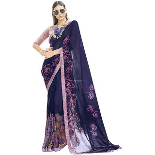 TriveniSarees Blue Georgette Printed Saree With Blouse