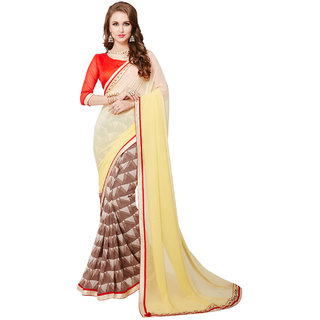 CRAZYDDEAL Brown  Yellow Georgette Printed Saree With Blouse