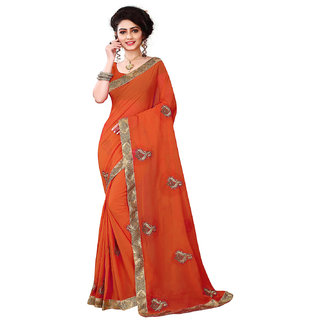 Designer embroided saree with blouse piece