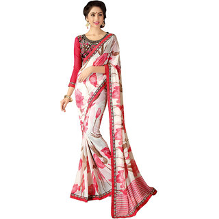 Swaron Pink & White Georgette Floral Saree With Blouse