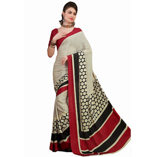 Shoppingara Multicolor Linen Printed Saree Without Blouse